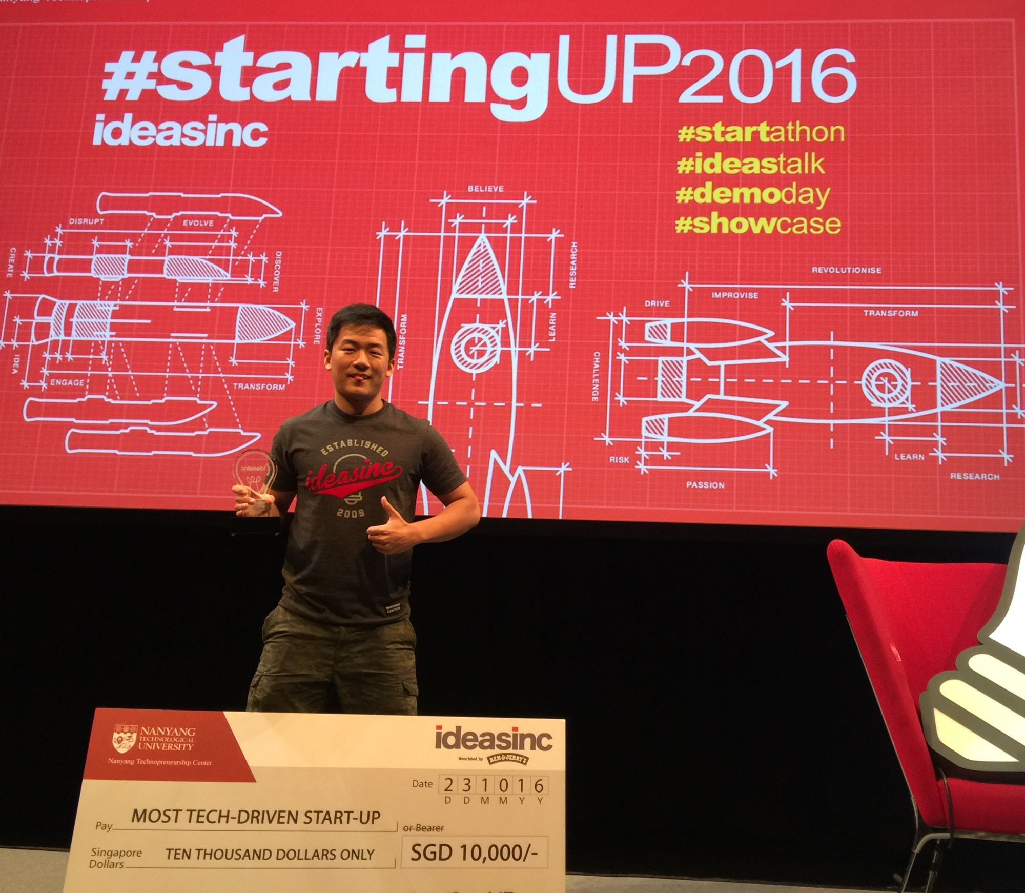 SUSTech graduate Cheng Qijia wins Most Tech-Driven Startup Award in IDEASINC #startingUP 2016